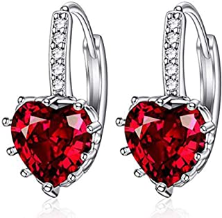 Peora Rhodium Plated Red Love Heart Crystal Hoop Earrings For Women & Girls Stylish Party Wear
