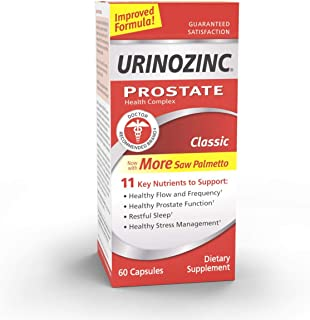 Urinozinc Classic Prostate Supplement, Doctor Recommended with Saw Palmetto, 60 Capsules