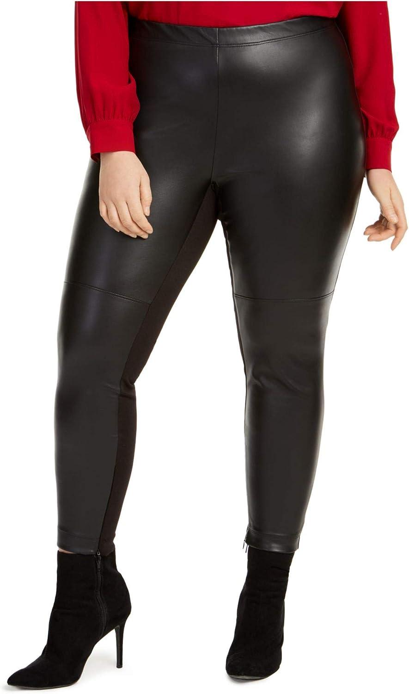 bar III Womens Plus Faux Leather Skinny Leggings