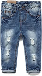 Kidscool Baby & Toddler Elastic Waist Ripped Holes Soft Slim Jeans