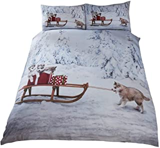 CHRISTMAS HUSKY DOG PUPPIES SLEIGH SNOW TREES WHITE BEIGE USA QUEEN SIZE (COMFORTER COVER 230 X 220 - UK KING SIZE) (PLAIN WHITE FITTED SHEET - 152 X 200CM + 25 - UK KING SIZE) 4 PIECE BEDDING SET