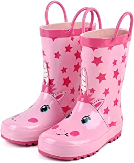 Kids Rain Boots by Landchief, Boys Girls Waterproof Animal Printed Rubber 3D Rainboots with...
