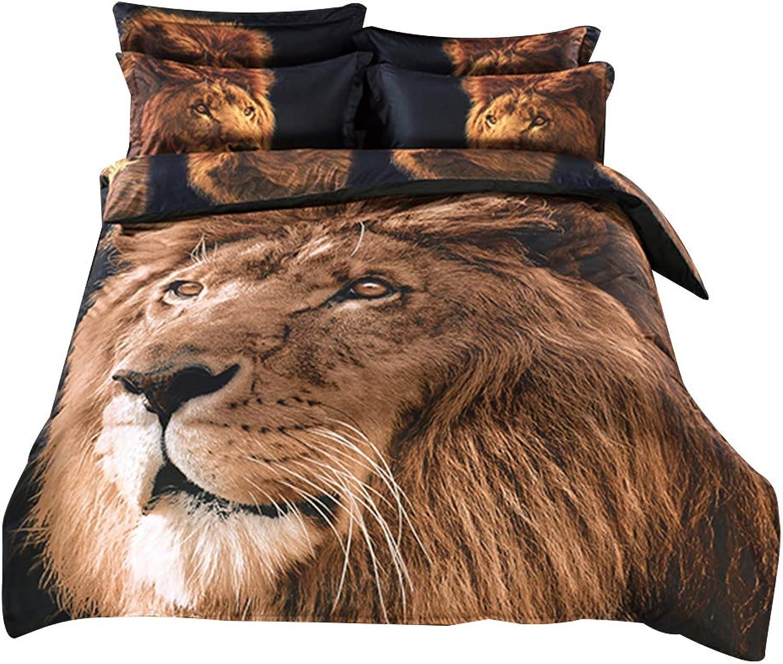 Alicemall 3D Lion Comforter Set King Size Big Lion Head Prints 5-Piece Lion Bedding Set (King)