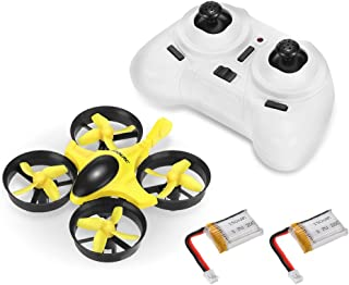 GoolRC T36 Mini RC Quadcopter Drone 2.4G 4 Channel 6 Axis with 3D Flip Headless Mode One Key Return Nano Copters RTF Mode 2 with Bonus Battery(Yellow)