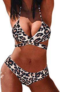 Women's Scrunch Bikini Printing Bottom 2 Pieces Halter Bathing Suits Swimsuits