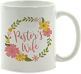 Andaz Press 11oz. Coffee Mug Gift, Pastor's Wife, Floral Wreath, 1-Pack, Birthday Christmas Present Ideas for Her Wife