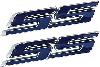 2 Pack SS Car Emblems, Chrome 3D Small Tilt Logo for Chevy Impala Cobalt Camaro 2010-2018