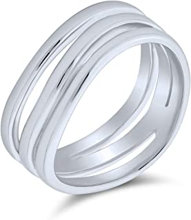 Stacking Style Simple 3 Three Row Wide Band Ring For Men Women Polished 925 Sterling Silver