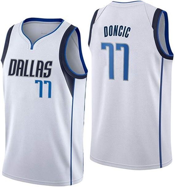 XIAOHAI Hombres Camisetas de la NBA Dallas Mavericks # 77 Luka Doncic Transpirable Resistente al Desgaste Malla Bordado Baloncesto del Swingman de los Jerseys