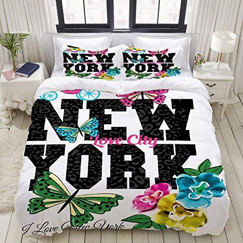 Rorun DuvetCoverSet, Slogan Schönes Grafikdesign Süße Blumen, ColourfulDecorative3PieceBeddingSetwith2PillowShams