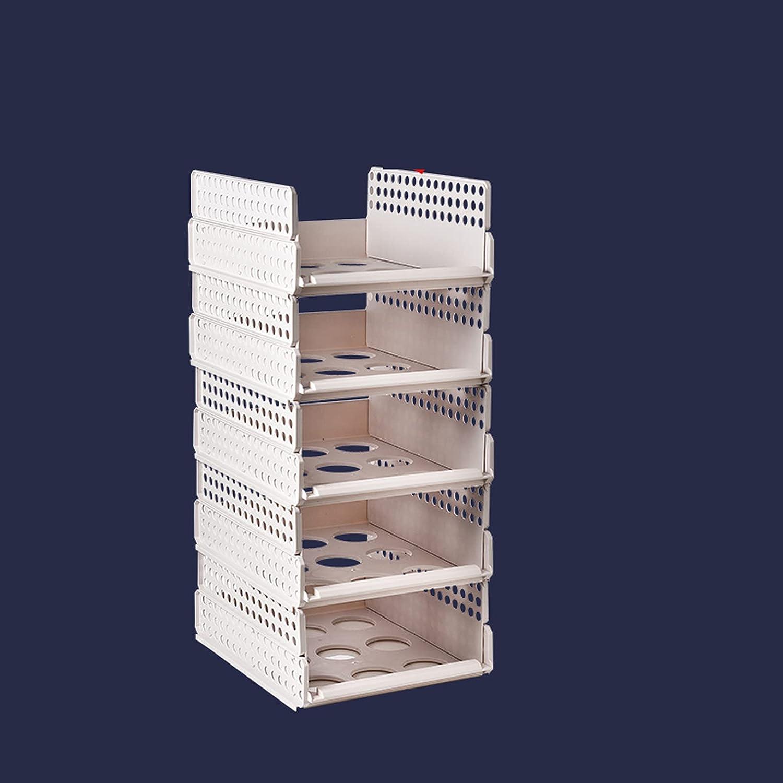 COKEYU Juego de 10 Piezas de Caja de Almacenamiento de Caja de Almacenamiento de Armario apilable,Caja de Almacenamiento de Armario de plástico Blanco con Estante de Armario,extraíble como un cajón