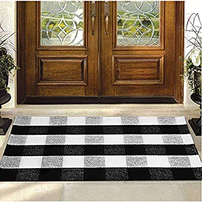 """Buffalo Plaid Rug - YHOUSE Checkered Indoor/Outdoor Door Mat Outdoor Doormat for Front Porch/Kitchen/Laundry Room Welcome Layered Mat (23.6""""X35.4"""", Black and White Plaid)"""