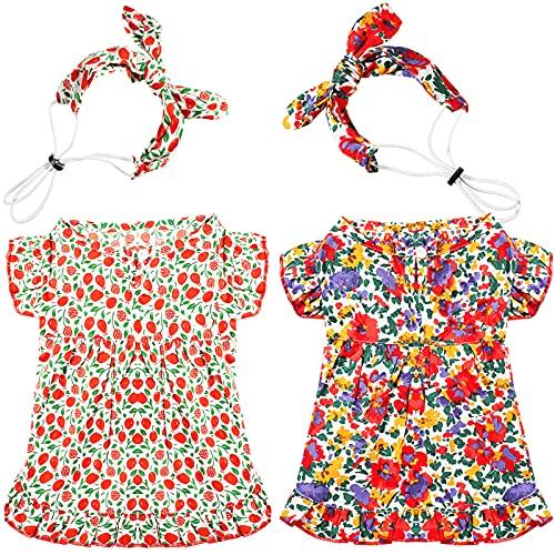 Frienda 2 Pieces Dog Cat Dress Princess Thin Floral Dress Stylish Pet Spring Summer Dress with Pastoral Style Hairband Red Puppy Holiday Dress Dog Cherry Skirt (Medium)