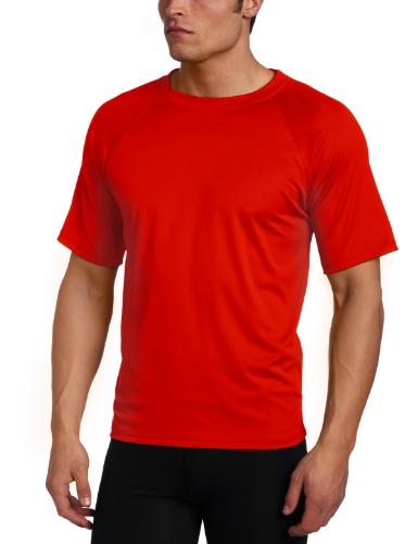 Kanu Surf Men's Short Sleeve UPF 50+ Swim Shirt (Regular & Extended Sizes), Red, Large