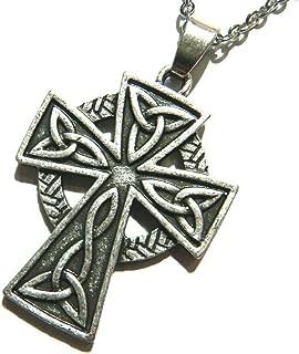 Celtic Knot Cross Catholic Crucifix Pewter Pendant on 18