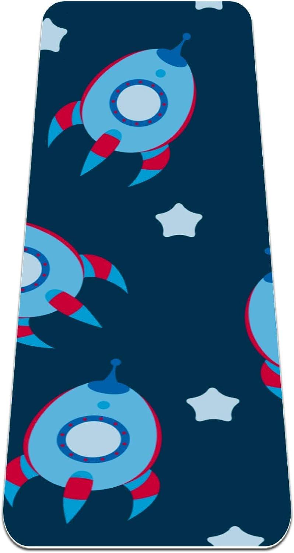 Siebzeh Galaxy Spaceship Rocket Pattern Ranking TOP7 E Thick Mat Yoga Max 81% OFF Premium