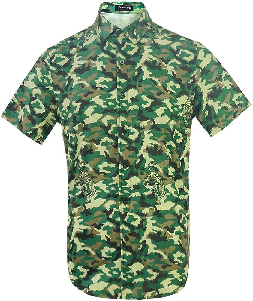 MCULIVOD Men's Hawaiian Tropical Shirts, Printing Short Sleeve Casual Button Down Shirt