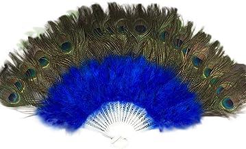 YWLINK Abanicos,Abanico De Plumas De Danza De 21 Huesos Boda Showgirl Danza Elegante Grande Plegable Mano Fan Decor Decal Fiesta De Bodas Carnaval Recuerdo(Azul)