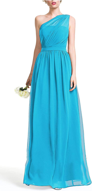 Fanciest gift Colorado Springs Mall Women's One Shoulder Bridesmaid Dresses Long Chiffon We