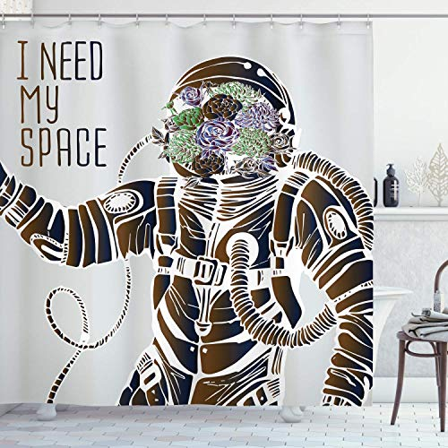 Alvaradod Weltraum-Duschvorhang,lustige Liebeswörter mit einem Blumenkopf Kosmonaut Pilot Man Humor Illustration,Stoff Stoff Badezimmer Dekor Set mit,grau-braun mit 12 Kunststoffhaken 180x210cm
