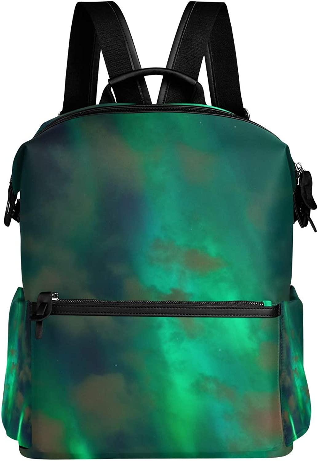 MONTOJ Beautiful Green Northern Lights Leather Travel Bag Campus Backpack