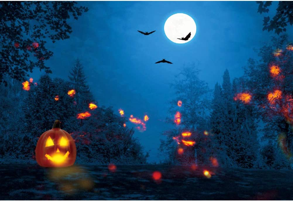 DORCEV 7x5ft Midnight Horrible Cemetery Photography Backdrop Fullmoon Starry Sky Castle Background Halloween Family Party Decoration Cake Table Banner Portraits Photo Studio Props