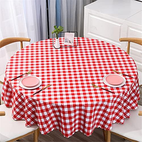 Mantel Redondo De PVC De Gran Tamaño A Prueba De Agua Y Aceite para El Hogar, Mantel Redondo De Impresión A Cuadros De Color Sólido Diameter140cm