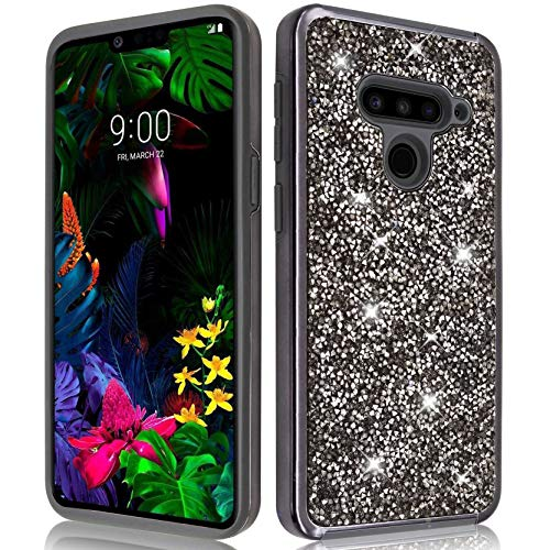 VenSen Glitter Bling Sparkle Case for LG V50 ThinQ 5G Case Shiny Diamond Hybrid Rubber Hard Crystal Heavy Duty Protective Girl Women Phone Cover for LGV50 (Black)