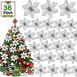 GIANOLUC 36 Stück Weihnachtsbaum Blumen, Blumen Weihnachtsbaum, Künstliche Weihnachtsblumen, Blume...
