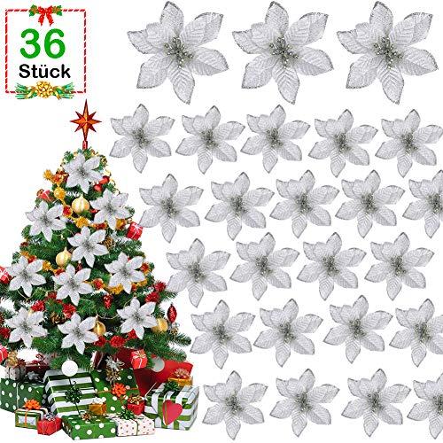 GIANOLUC 36 Stück Weihnachtsbaum Blumen, Blumen Weihnachtsbaum, Künstliche Weihnachtsblumen, Blume für Weihnachtsbaum künstlich, Weihnachtsbaumschmuck Blume, Glitzer für Weihnachten Silber