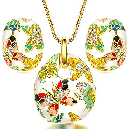 QIANSE Mothers Day Jewelry Sets Gifts for Her Spring of Versailles for Women Vintage Enamel Butterfly Necklace Earrings Jewelry Set Jewelry Birthday Gifts for Women Gifts for Mom Girlfriend