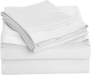 Superior 1000 Thread Count 100% Egyptian Cotton, King Bed Sheet Set, Single Ply, Solid, White