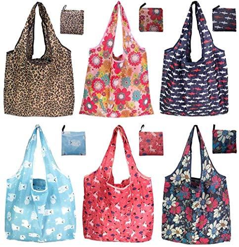 6 / Pack 42x64cm Wiederverwendbare faltbare Einkaufstasche Tragbare Einkaufstasche Faltbare Einkaufstaschen Umweltfreundliche Einkaufstaschen Faltbare Einkaufstaschen Waschbar & Stabil & Leicht