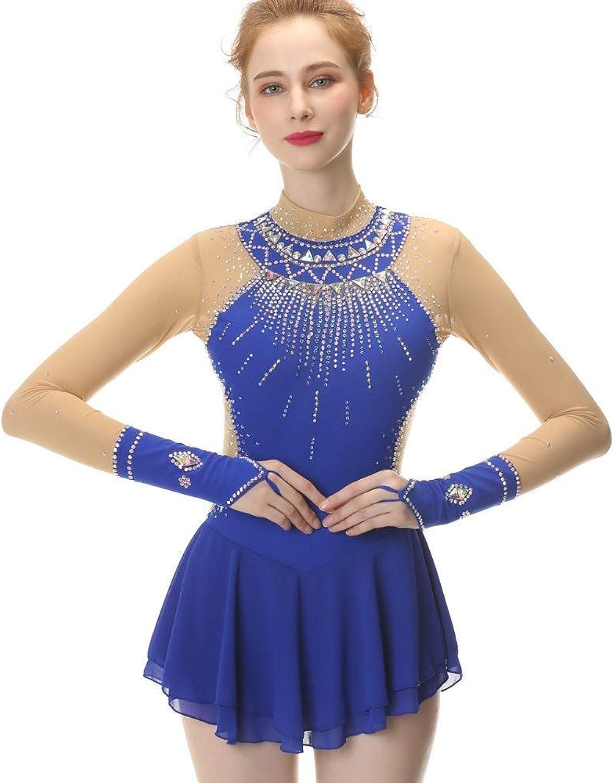 WG Eislaufen Kleid Für Mädchen Und Frauen, Handarbeit Handarbeit Handarbeit Rollschuhkleid Eiskunstlauf Wettbewerb Professional Kostüm Mit Kristallen Langärmelig Trikot, Blau B07MRL4X3B  Wir haben von unseren Kunden Lob erhalten. 782926
