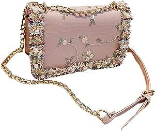 Fanspack Shoulder Bag Fake Pearl All-Match Embossed Flower Croaabody Purse Satchel Bag
