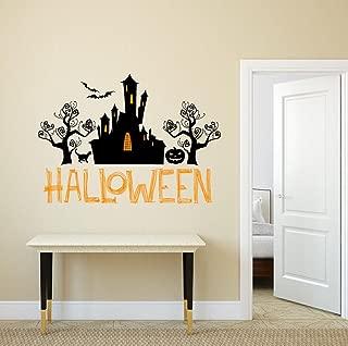 BIBITIME Sayings Art Quotes Halloween Wizard Castle Vinyl Sticker Black Tree Cat Bats Pumpkin Wall Decal for Living Room Porch Sofa Background Decorations DIY Home Mural PVC