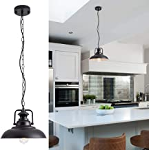 "Barn Pendant Light with Adjustable Chain Industrial Hanging Pendant Lighting Fixture Rustic Farmhouse Pendant Light for Kitchen Dinning Room Entryway, Diameter 12"", Black, E26"
