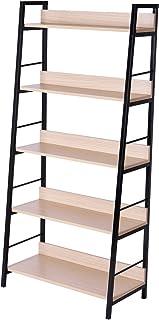 HOMCOM Étagère bibliothèque Style Industriel incliné 5 Niveaux 70L x 35l x 150H cm Coloris chêne Clair Noir