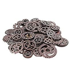 Teenitor 200 Gram Assorted Antique Steampunk Gears Charms Cogs Cyberpunk Vintage Pendant Clock Watch Wheel Gear for DIY Crafting Jewellery Making Finding Parts Accessory Bronze & Copper(Approx 140pcs) #4