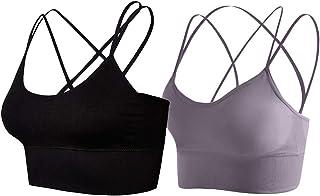 Lianshp Cross Strappy Sports Bra for Women,Pack of 2,Black/Purple Gray S