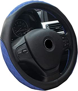 XiXiHao Men's Stitching Rhinestones Winter Car Universal Steering Wheel Cover for All Season Black Blue