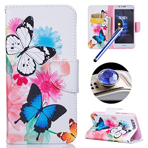 Etsue Case pour Huawei Honor 8 Premium Folio PU Cuir Protecteur Portefeuille Flip Cover Case Leather Wallet Housse Shell Coloré Motif avec Stand Card Holder Function Etui pour Huawei Honor 8