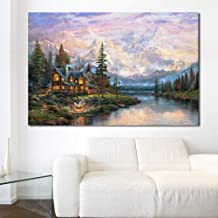Wangjingxi Wall Art Picture Home Decor Modern Thomas Kinkade Cathedral Mountain Canvas Painting No Frame Paintings On Canv...