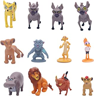 HYSTYLE 12 Pcs Lion Figures, Mini King Figure Playset Toys, Animal Figure Characters Toys Mini Figure Collection Playset, ...