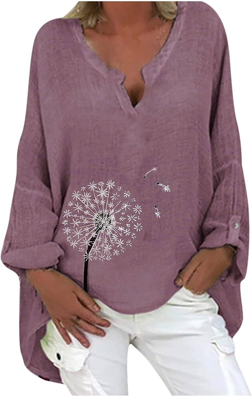 TARIENDY Plus Size Blouse for Women Loose Long Sleeve Shirt Lightweight Flowy Tshirt Summer V Neck Tees Tunic