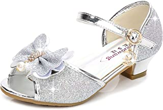 Birthday Party Little Girl's Adorable Sparkle Mary Jane Side Bow Strap Low Heels Princess Dress Shoes