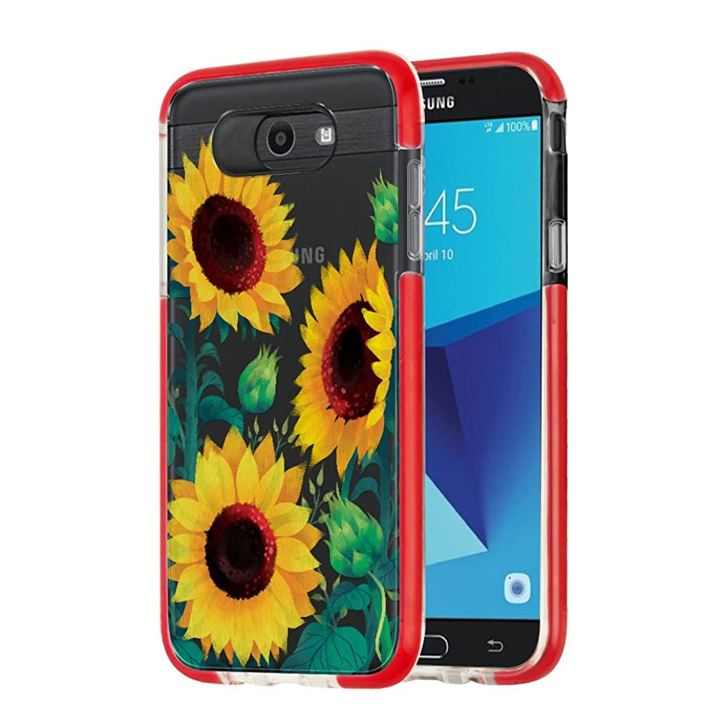 FINCIBO Case Compatible with Samsung Galaxy J7 2017 J727 Sky Pro, Clear SideSpine Bumper Hybrid TPU Protective Transparent Cover Case for Galaxy J7 2017 Sky Pro (NOT FIT J7 2016) - Sunflower Portrait