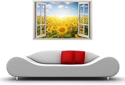 Paper Plane Design Yellow Sunflower Field Wall Decal Sticker (Vinyl, 90 cm x 0.625 cm x 60 cm)