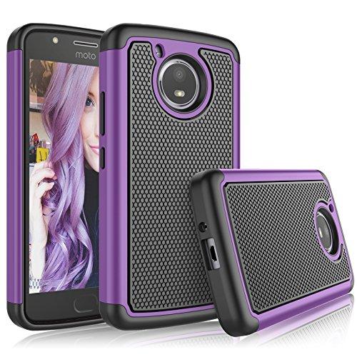 Tekcoo Moto E4 Plus Case, Tekcoo 2017 Motorola Moto E Plus 4th Generation Cute Case, [Tmajor] Shock Absorbing [Purple] Rubber Silicone & Plastic Scratch Resistant Bumper Grip Rugged Hard Cases Cover