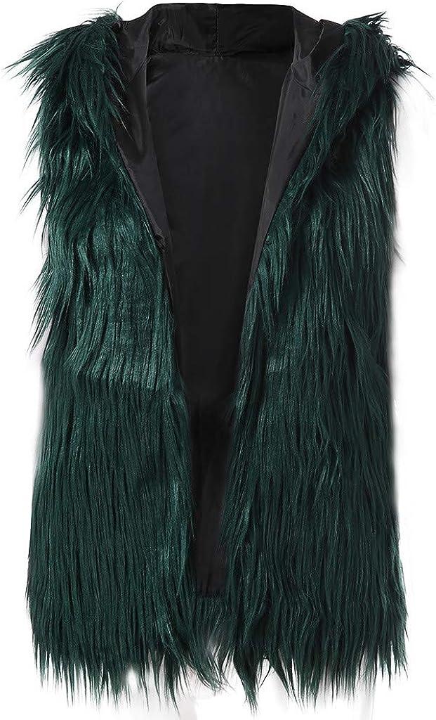 ManxiVoo Women Sexy Faux Fur Hooded Sleeveless Jacket Coat Casual Warm Vest Waistcoat